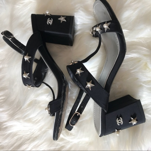 52d2be97362 CHANEL Shoes - Chanel pearl star black heel sandals